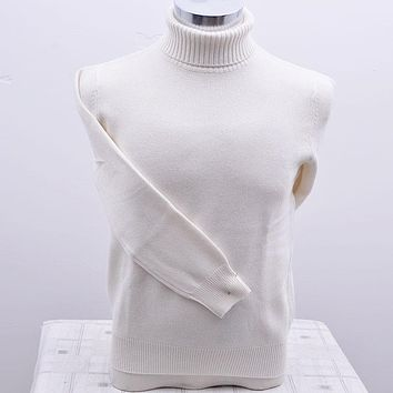 100%goat cashmere thicken knit men's autumn winter pullover sweater turtleneck white red 4color big size S/105-3XL/130