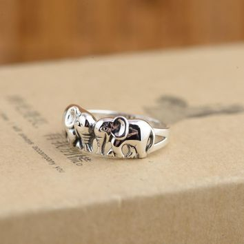 Cute Animal Elephant Rings 925 Sterling Silver