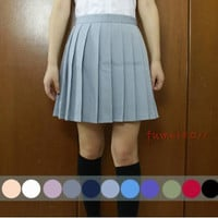 Japanese School Girls Solid Pleated Mini Uniform Skirt Cheerleader Sailor Dress