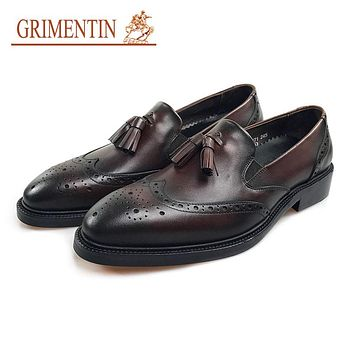 Tassel Oxford Shoes Genuine Leather Slip On Formal Shoes