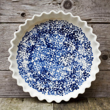 Pour la tourtière d'Annette, white and blue - Pie plate