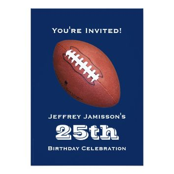 25th Birthday Party Invitation, Football Card