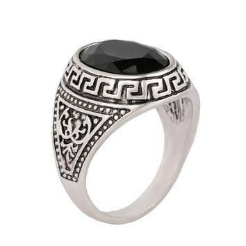 Antique Silver Vintage Black Round Opal Gem Men Rings Ethnic Engrave Natural Stone Male Rings Jewelry Anillos Bague Homme R0222