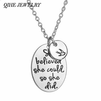 "QIHE JEWELRY Handstamped ""she believed she could so she did"" Oval Round With A Bird Pendant Necklace Women Inspirational Jewelry"