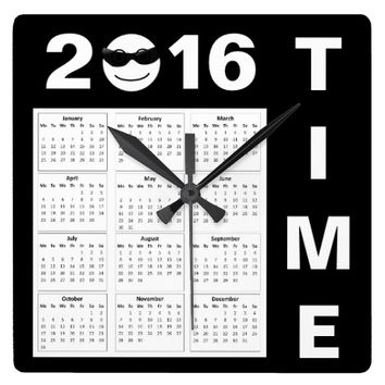 Happy New Year 2016 Cute Smiley Calendar Square Wall Clocks