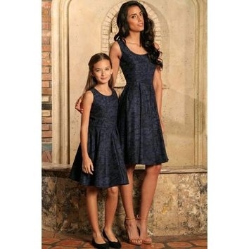 Navy Animal Print Sleeveless Skater Fit & Flare Mother Daughter Dress