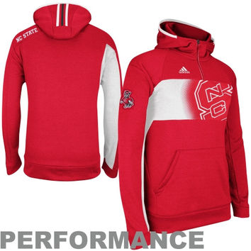 adidas North Carolina State Wolfpack Player Pullover Performance Hoodie Sweatshirt - Red