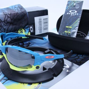 RARE OAKLEY RACING JACKET Vented FATHOM Polis Bluew/ Blk Iridium & Clear 9171-15