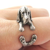 Realistic Basset Hound Shaped Animal Wrap Ring in Silver   Sizes 4 to 8.5