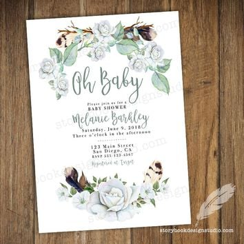 Feather Greenery Boho Baby Shower Invitations