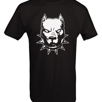 Spiked Collar Mean Pitbull Novelty T-shirt - Dog
