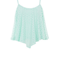 Teens Mint Green Daisy Lace Hanky Hem Crop Top