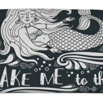 Bath Mat, Hand Drawn Mermaid Typography Vintage Poster Take Me To The Ocean Inspirational