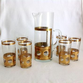 Mid Century Modern Glass Martini Pitcher with Six Highball Tumblers Gold Circles and Crackles