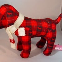 Victoria's Secret Red Plaid Plush Dog with Knit Scarf