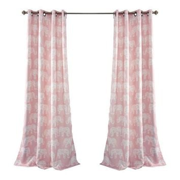 Pink Elephant Parade Room Darkening 84 Inch Curtain Panel Pair