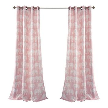 Pink Elephant Parade Room Darkening 84-Inch Curtain Panel Pair