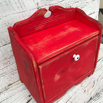 Bread - Breadbox - Box - Red - Blue - Black - Shabby - Kitchen - Cottage Chic - Kitchen Decor - Food Storage - Organize - Rustic Home Decor