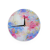 "Ebi Emporium ""Whispered Song 1"" Blue White Wall Clock"