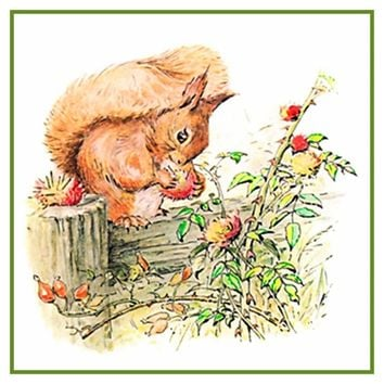 Squirrel Nutkin Eats Nuts inspired by Beatrix Potter Counted Cross Stitch or Counted Needlepoint Pattern