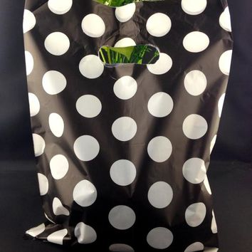 "25x35cm (9.8""x13.7"") 100pcs Black Dots Plastic Bags Cosmetic Favor Gift Bags Boutique Large Plastic Shopping Bags With Handle"