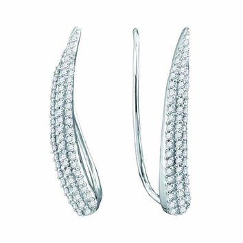 10kt White Gold Women's Round Diamond Tapered Climber Earrings 1-3 Cttw - FREE Shipping (US/CAN)