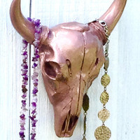 Rose Gold Cow Skull - Faux Skull - Faux Taxidermy - Skull Home Decor - Rose Gold Decor - Bohemian Decor - Skull Wall Art - Decorative Skulls