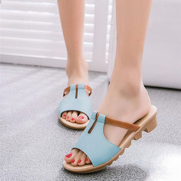 2017 Summer Cut Out Female Sandals Fashion Solid Beach Ladies Slides Slippers Trifle PU Leather Women Shoes Plus Szie 40 WSS531