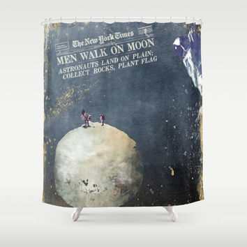 Men walk on Moon Astronauts  Shower Curtain by Jbjart