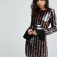 Boohoo Flared Cuff Striped Sequin Dress at asos.com
