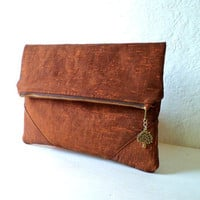 Clutch, handbag,  fold over clutch,,minimalist desing, shantung in bright shiny copper color,Black crystal  pendant, Ready To Ship.