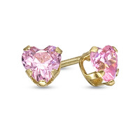 Child's 4.0mm Heart-Shaped Pink Swarovski® Crystal Stud Earrings in 14K Gold