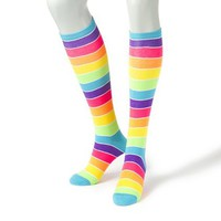 Neon Rainbow Stripe Socks  | Claire's