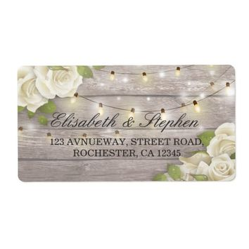 Rustic Wood Floral String Lights Wedding Address Label