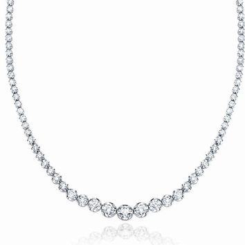 "JewelMore 14K White Gold 17 ""Graduate Diamond Tennis Necklace(3cttw, H-I Color, I1-I2 Clarity)"