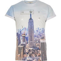 River Island MensBlue New York City print t-shirt