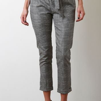 Paperbag Glen Plaid Tailor Pants | UrbanOG