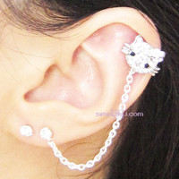 Pink Rhinestone Hello Kitty Flower Chain Double Piercing Earring