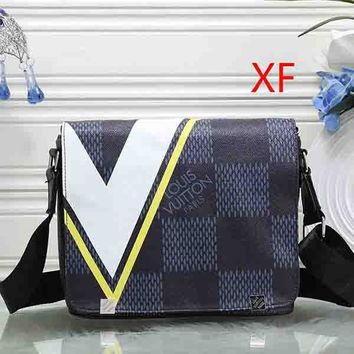 Louis Vuitton LV Men Fashion Leather Office Crossbody Shoulder Bag Satchel