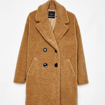 Faux shearling double-breasted coat - Coats - Bershka United States