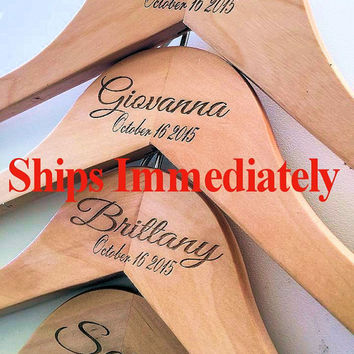 Ships Immediately Engraved~Notched Wedding Hanger~ Personalized Bridal Party Wedding Dress Hanger Bridal Shower Gift Bride Bridesmaid Hanger