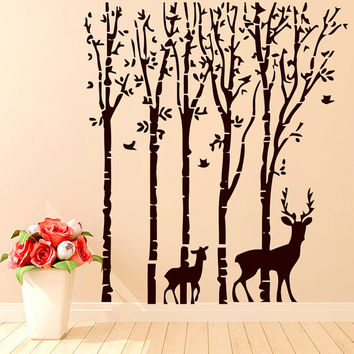 Wall Decals Bird Tree Branch Deer Decal Vinyl Sticker Bathroom Kitchen Window Baby Children Nursery Bedroom Home Decor Art Murals MN507