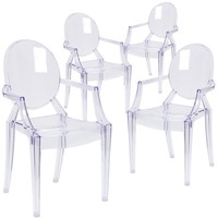 4 Pk. Ghost Chair with Arms in Transparent Crystal