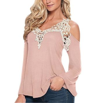 Fashion Femininos Autumn Blusas Women Blouses Lace Long Sleeve Casual Off Shoulder V-Neck Strapless Shirt Tops 2017