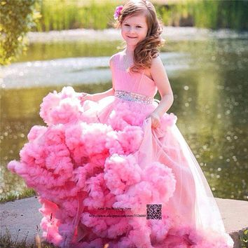 Cute Pink Mother Daughter Gowns Little Girls Evening Gowns Ruffles Tulle Pageant Dresses for Girls Glitz Communion Dresses 2017