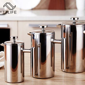 TTLIFE 350ML 800ML 1000ML Delicate Coffee Maker Stainless Steel French Press Coffee Tea Pot with Filter Double Wall