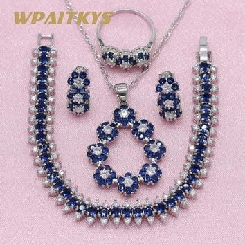 Exquisite Royal Blue Stone 925 Silver Jewelry Sets For Women Wedding Earrings Bracelet Pendant Necklace Ring Free Gift Box