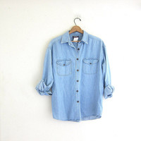 20% OFF SALE Vintage Light Wash denim Shirt. Oversized jean Shirt. Slouchy Jean Shirt.