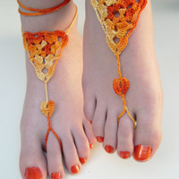 Orange Barefoot Sandals - Foot Jewelry - Crochet Anklet  - Victorian lace - Bridesmaid accessory - Nude shoes - Beach Wedding
