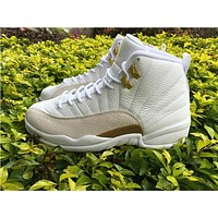 Air Jordan Retro 12 OVO White Gold Basketball Shoes Men Top Quality 12s OVO White Sports Sneakers Come With Shoes Box